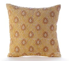 Vintage Love Letter - Pear & Light Yellow Lace Embroidered Throw Pillow