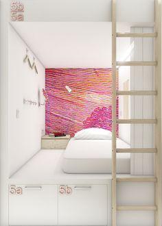 Hostel «Pastel» / Samara on Behance Lofts, Bed Design, House Design, Bed Nook, Capsule Hotel, Samara, Hotel Bed, Dormitory, Loft Style