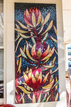 Leucadendron Mosaic 1 of 3 stained glass mosaic panels x Private commission - Seacliff Mosaic Garden Art, Mosaic Tile Art, Mosaic Vase, Mosaic Artwork, Mosaic Diy, Mosaic Crafts, Mosaic Mirrors, Glass Artwork, Mosaic Designs