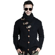 Suéter masculino grosso de manga longa
