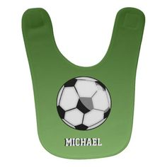 Soccer Ball With Custom Name Baby Bib