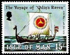 "Voyage of ""Odin's Raven"", commemorative stamp for Isle of Man."