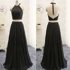 Black Two Pieces Prom Dresses,Lace Bodice Chiffon Skirt
