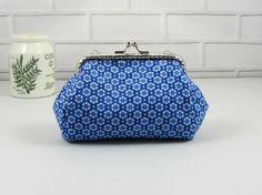 Coin purse, clasp pouch, blue cotton purse, handmade purse,  clutch purse, change purse, kiss lock purse by JRsbags on Etsy