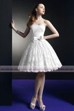 New lace Knee Length Ball Gown Wedding Dress Short Prom Evening Dress Size 6-16