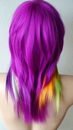 Rainbow Color wig. Long straight  hair pastel color wig. Bold pastel color highlighted wig. Scene color wig.. $97.95, via Etsy.