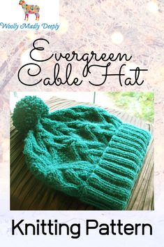 The Evergreen Hat is a quick knit for Christmas gift knitting ideas. The diamond cable pattern features cables, a texture pattern in the centre of the diamonds and a reverse stocking stitch background to make the cables pop. A friend suggested the name Evergreen because of the rich Forest Green I've used for the. It's a quick knit worked in the round from the bottom up.  #christmasknittingpatterns #woollymadlydeeply #giftknittingideas #cabledhatpattern Christmas Knitting Patterns, Knitting Ideas, Knitted Hats, Crochet Hats, Quick Knits, Dk Weight Yarn, Double Knitting, Textures Patterns, Evergreen