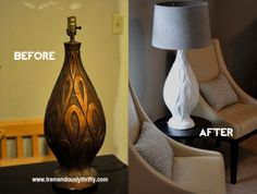 Before  after vintage lamp base painted with white chalk paint.