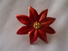 Vintage Gold Tone Poinsettia Pin/Brooch by CrazyDeeDee on Etsy