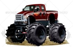 Buy Cartoon Monster Truck by Mechanik on GraphicRiver. Car Ford, Ford Trucks, Ford 4x4, Train Illustration, Cartoon Monsters, Cars Cartoon, Truck Detailing, Car Vector, Truck Art