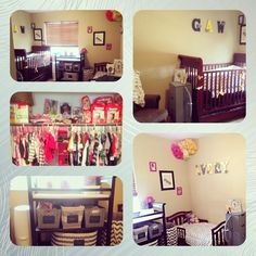 Infant boy and toddler girl gray and yellow chevron small shared room with hot pink and navy gray accents for their respective sides.