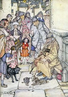 """Poor Cecco goes into business. From """"Poor Cecco"""". Illustration by Arthur Rackham (1934)"""