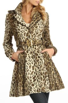 ABS by Allen Schwartz Faux Fur Trench With Piping In Cheetah