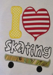 FOR ALL THOSE SKATEBOARDING TEENS - BOYS AND GIRLS - JUST RELEASED  I Love Skateboarding Machine Applique Embroidery by KCDezigns, $3.00
