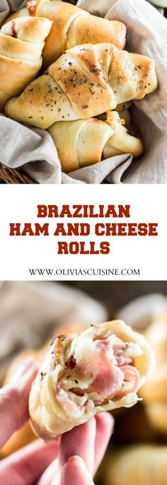 Brazilian Ham and Cheese Rolls   http://www.oliviascuisine.com   A delicious and easy snack for back to school! Make sure you save some for yourself, cause the kids will wanna devour the whole batch!