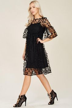 Ivy Embroidered Overlay Black Midi Dress