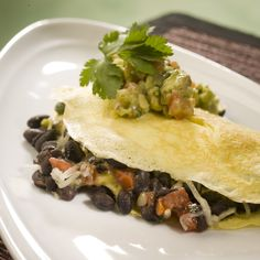 Black Bean Omelet with Avocado Salsa Verde | Bean Institute