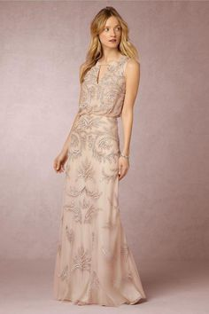 blush and silver evening gown with blouson bodice