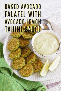 Light and pillowy Baked Avocado Falafel with Avocado Lemon Tahini Sauce. So good!