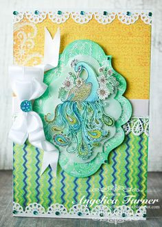Hi friends, today I am sharing a card I made with the Peacock Paisley collection from Heartfelt Creations . Handmade Greetings, Greeting Cards Handmade, Heartfelt Creations Cards, Vintage Scrapbook, Bird Cards, Stamp Making, Felt Hearts, Bellisima, Cardmaking