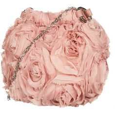 Blush Fabric Rose Chain Handle Bag ($60) ❤ liked on Polyvore featuring bags, handbags, clutches, purses, bolsas, pink, women, red pouch, red handbags and red purse