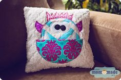 Mom-Made Sewing Shop: December Sewing Orders - cute monster tooth fairy pillow for a girl