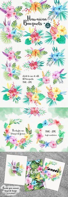 Tropical Bouquets Clipart Set