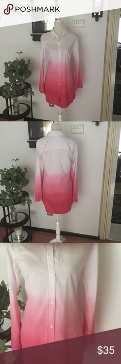 Tommy Bahama Long Sleeve Tunic Shirt Tommy Bahama Pink White Long Sleeve Button Down Tunic Shirt. Size Large. Looks great with leggings or skinny jeans. Tommy Bahama Tops Tunics