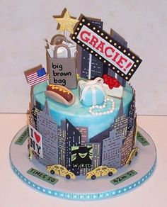 New York City Themed Cake Nyc Toppings Party Cakes