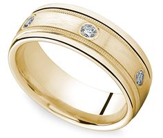 Diamond Eternity Milgrain Men's Wedding Ring in Yellow Gold http://www.brilliance.com/wedding-rings/diamond-eternity-milgrain-mens-band-yellow-gold