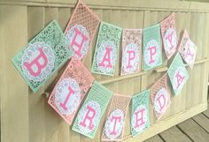 Happy Birthday Party Banner Handmade Garland Mint by CountryShades