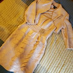 Worn once! Cream formal dress. Fitted with thin straps and built-in padding in chest.  Beautiful detailing! Jacket to match. Jacket has shoulder pads still intact but could be cut out. Jessica Howard Dresses Midi