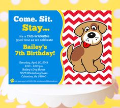 Popular items for dog party invitation on Etsy