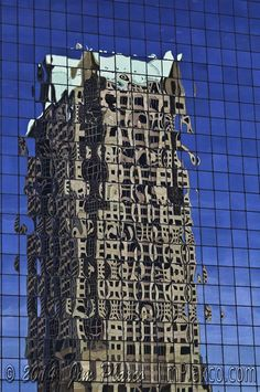 Building Distorting Building - the distorted reflection of a skyscraper.  Prints and digital downloads available from www.jimplaxco.com . Distortion Photography, Distortion Art, Reflection Photography, Texture Photography, Photography Gallery, Photography Projects, Street Photography, Building Photography, Mirror Photography