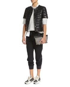 Brunello Cucinelli Short-Sleeve Leather Puffer Jacket, 3/4-Sleeve Paillettes Pullover Top, Sleeveless A-Line Blouse W/Monili Trim & Pleated-Front Belted Jogger Pants