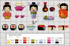 Free cross stitch patterns for Japanese designs Dmc Cross Stitch, Small Cross Stitch, Cross Stitch Kitchen, Cross Stitch Baby, Cross Stitch Designs, Cross Stitching, Cross Stitch Embroidery, Cross Stitch Patterns, Beaded Cross Stitch