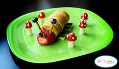 caterpillar: peanut butter and ritz crackers, strawberry head, blueberry eyes, blueberry and pretzel antennae and cucumber legs    toadstool mushrooms - sliced cheesestrings, halved cherry tomatoes, ranch dressing dots    from meet the dubiens