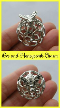 Bee and honeycomb charm silver tone