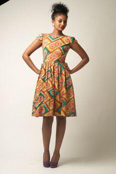 Cap Sleeve Ankara Dress