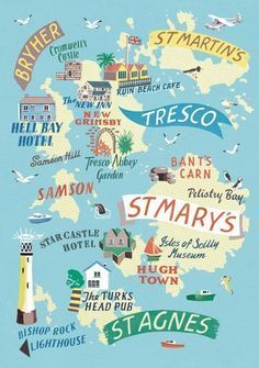 A 1 Week Travel Itinerary For Visiting The Isles Of Scilly – The UK's Tropical Islands Isles of Scilly map by Anna Simmons Devon And Cornwall, Cornwall England, Cornwall Map, West Cornwall, Travel Maps, Travel Posters, Tresco Abbey Gardens, Scilly Island, Art Carte