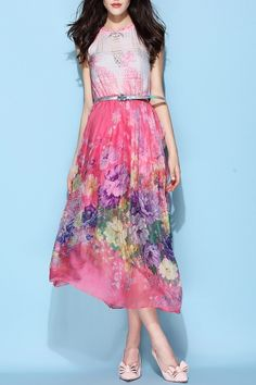 Weiguoyue Pink Belted Silk Bohemian Dress   Maxi Dresses at DEZZAL Click on picture to purchase!