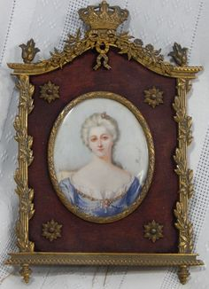 Atq Miniature 1800s French Hand Painted Woman Signed Portrait Gilt Bronze Frame