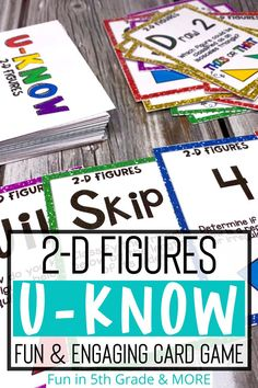 This 2-D Figures U-KNOW review game can be an engaging Classifying Triangles, Geometry Activities, Indoor Recess, Fun Math Games, Review Games, Early Finishers, Elementary Math, Math Classroom, 5th Grades