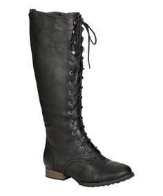 Black Outlaw Lace-Up Boot #zulilyfinds