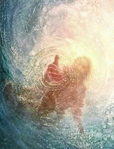 Jesus reaching into the water to save Peter from drowning after Peter lost faith when walking on the water to Jesus