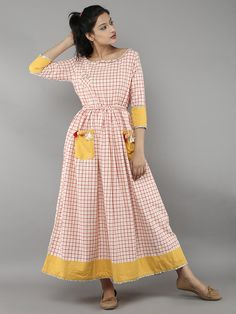 Off White Red Handloom Cotton Checked Kurti