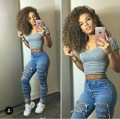 Women High Waist Jeans Ladies Ripped Pants Women Looks Slim Skinny Fashion Hole Jeans Stretch Pencil Denim Pants Women Clothes Mode Outfits, Jean Outfits, Casual Outfits, Summer Outfits, Spring Outfits For School, Cute Outfits With Jeans, Autumn Outfits, Stretch Jeans, Stylish Clothes