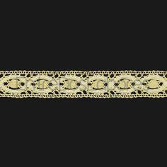 Entredós de encaje de bolillos de algodón mercerizado de 2,2 cm. (Disponible en 3 combinaciones de colores)