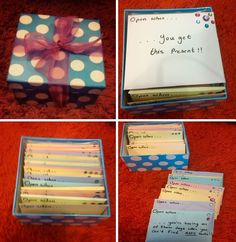 21st present: I made this present for my best friend for her 21st! Fill a box with 21 envelopes. On each envelope write 'Open When...' and a certain situation e.g. open when you're going shopping/you're having a bad hair day/ it's Christmas, you need a friend, you need a laugh etc. and each envelope has a present relating to what was written on the envelope! Rules: Can only open an envelope when appropriate - no cheating ! A fun present that lasts all year for someone very special:
