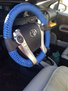 For a firmer grip upon the steering wheel, you can wrap it with paracord. Life saving hack